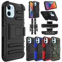 For iPhone 12 mini/12 Pro Max Case Belt Clip Holster Kickstand Shockproof Cover