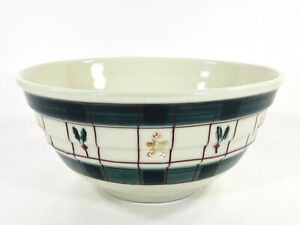 "Hartstone Pottery GINGERBREAD 4.5Qt Mixing 11"" Bowl Green Plaid Holly Christmas"