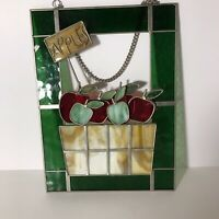 "Leaded Stained Glass Suncatcher Apple Basket Design in Green Red & Tan-11"" x 8"""