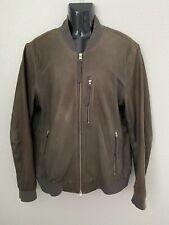 AllSaints Brown Leather KEMBLE Bomber Jacket XL Kino Conroy Blyth Biker Kirk