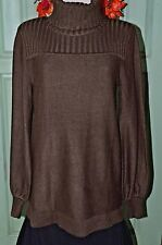 Turtle Neck Tunic Sweater A New Approach ANA Size Med Deep Plum Acrylic Knit