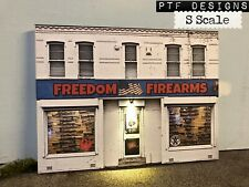 "S Scale Scratch Built ""FREEDOM FIREARMS"" 🇺🇸🔫 GUN SHOP Building Flat wLED"