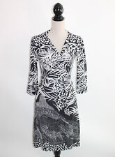 DVF Diane Von Furstenberg Julian Two 100% Silk Black Gray Print Wrap Dress 12