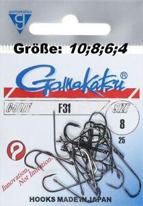 Gamakatsu F31 Größe #4 #6 #8 #10 #12  black nickel 25 Haken Fliegenbinden Japan