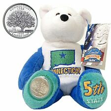 """#5 Limited Treasures Connecticut State Quarter Collectible Plush 9"""" Bear"""