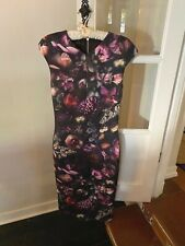 Ted Baker Women's 2 (4) US XS Black Floral Cocktail Dress Runway Auth Stretch