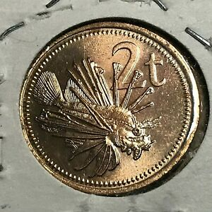 1987 NEW GUINEA 2 TOEA LIONFISH PROOF BRILLIANT UNCIRCULATED COIN