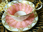 AYNSLEY FANCY TEA CUP AND SAUCER WHITE & PINK GOLD VINES DORIS SHAPE c1930s