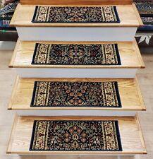 "Navy Stair Tread Set of 7 Traditional Non Slip Carpet Treads 26"" x 9"" Rug Depot"