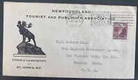 1926 St Johns Newfoundland tourist & publicity Cover To Boston MA Usa
