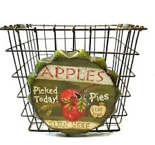 "Basket Apple Picking 7"" Farmhouse Primitive Rustic Decor Carry Handles Metal"