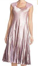 Komarov Pink Charmeuse Chiffon A-Line Dress Women's S Embellished Ombre NWT $418