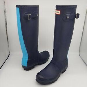 Hunter Original Tall Rain Boots Women's 6 Blue Stripe Matte Waterproof Two-Tone