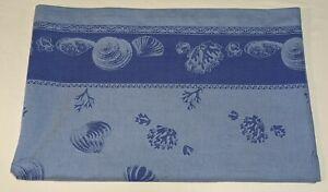 """EUC WILLIAMS SONOMA Blue 100% Cotton Beach Shells 70x108"""" Tablecloth Russia"""