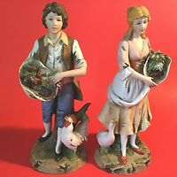 """BOY & GIRL FIGURINES HAND DECORATED  COLONIAL FARMER DUCK ROOSTER 10""""H VINTAGE"""