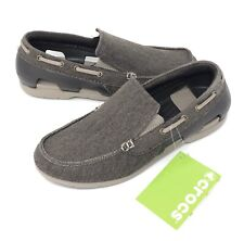 Crocs Mens Beach Line Canvas Boat Shoes Size 8 Espresso/Mushroom NEW With TAGS