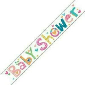 Baby Shower Foil Banner Gender Reveal Unisex Boy Girl Fun Theme Party Decoration