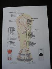 1974 Copa del Mundo final Alemania occidental V Holland matchsheet