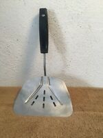 Vintage Foley Wide Blade Slotted Spatula Stainless /w Black Plastic Handle MPLS