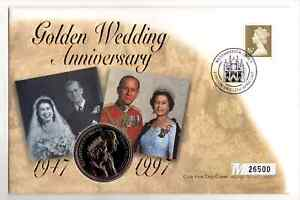 Great Britain 1997 Golden Wedding Anniversary £5 Coin Cover (01)