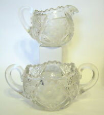 Clear Glass Cream and Sugar Set Etched and Geometric Designs Vintage AS IS