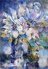 """Nuevo sera Caballero Original """"la armonía en azul y blanco"""" Flor pintura de acrílico"""