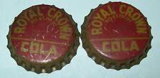 Lot of 2 Vintage Royal Crown Cola Unused Soda Pop Bottle Caps Cork Lined 1950's