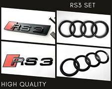 Audi RS3 Gloss Black Set Kit of Front Rings Badge Grille Boot Lid Trunk Emblem