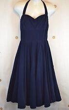 ANTHROPOLOGIE Girls from Savoy 6 Navy Blue Corduroy Rodna Halter Pinup Dress AZ3