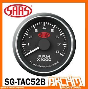 SAAS Performance TACHOMETER 8000 RPM Analog Black Face Gauge 52mm TACHO SG-TAC52