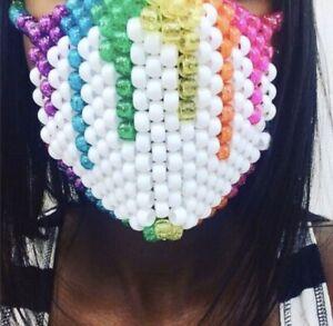 White Glitter Rainbow Kandi Mask, Edm, Festivals, Pride