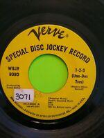 """Willie Bobo Fried Neckbones and Home Fries, 1-2-3 Uno-Dos Tres 7"""" 45 RARE PROMO"""