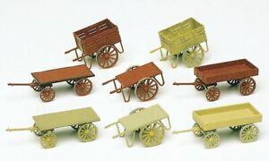 Preiser HO Scale Model Scenery Detail Set Hand Carts/Farm Equipment - Kit