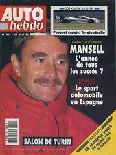 AUTO HEBDO n°827 du 29 Avril 1992 BMW 318i PRELUDE 2.3 SALON TURIN