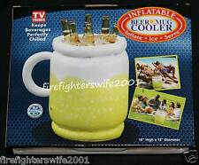 "Inflatable Beer Mug Beverage Cooler 16""x12"" great for beach parties football"