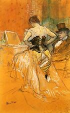 Elles: Woman in un corsetto Toulouse Lautrec Tela o Stampa Artistica POSTER