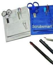 WHITE Pocket Organizer Medical Belt Loop + Scissor +LED Penlight +Pen Nurse KIT