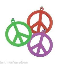 Hippie 60's 70's Hippy Flower Power Peace Sign Medallion Festival Fancy Dress
