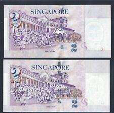 Banknote-  Singapore $2 x 2 pcs Millennium 2000 Paper Money AU (#88)