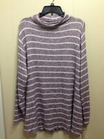 SONOMA Women's Striped Mock Neck Sweater Long Sleeve Top Plus size 2X NWT $40