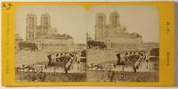 Parigi Istantanea Pont Notre-Dame Foto Stereo PL46Th2n Vintage Albumina c1865