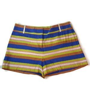 LOFT Petites Womens Linen Blend Blue Multi Color Striped Shorts sz 8P