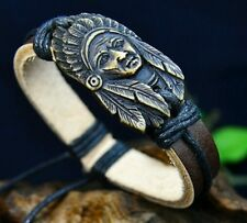 Chief Head Bracelet Tattoo Punk Pinup Jewelry Gypsy Boho Leather Cuff Emo Native