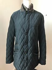 Massimo Dutti Women's Navy Blue Quilted Riding Jacket Coat Zip out Detail Sz L