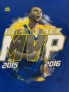 MAJESTIC GOLDEN STATE WARRIORS STEPH CURRY BACK TO BACK MVP T-SHIRT MED.
