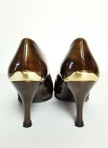 Stuart Weitzman Tortoise Brown Patent Leather Wedge Heels Sz 5.5M Womens Shoes