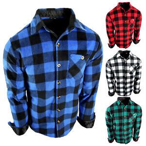 Flannel Plaid Shirt Mens Soft Fuzzy Fleece Stretch Pocket Long Sleeve True Fit