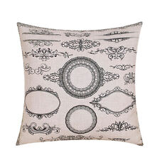 """Cotton Linen Decor Pillow Case Cushion Cover Sofa Throw Grey Frame Thick 18"""""""