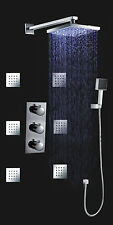 "12""Thermostatic Shower Faucet Set LED RGB Rainfall Shower Head&Spa Body jets"