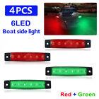 4X 12V Red + Green Boat Navigation LED Lights Stern Lights Boats Starboard Light